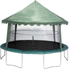 The Jumpking 14' Trampoline Canopy Cover has a tent-style roof and features hooks for simple setup and removal.