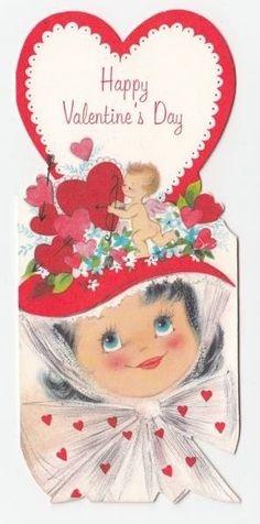 Vintage Greeting Card Valentine Little Girl Pretty Flower Heart Cupid Hat Valentines Greetings, Valentine Greeting Cards, Vintage Valentine Cards, Vintage Greeting Cards, Vintage Holiday, Happy Valentines Day, Valentine History, Old Cards, Red Hats