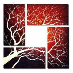 Tree Oil Painting - Set of 4 - Free Shipping