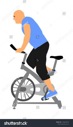 Man work out on exercise bike vector illustration. Biking in gym cardio training. Indoor cycling bikes worming up. Indoor Cycling Bike, Cycling Bikes, Spin Class, Cardio Gym, Losing Weight, Biking, Personal Trainer, Spinning, Stationary