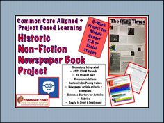 PBL for Middle Grades ELA and Social Studies. 9-Week Project. Students select an historic non-fiction text and write explanatory, persuasive, opinion, and analytical articles about the book that culminates in a newspaper. Integrated. Differentiated. Fun. Authentic. #CCSS #PBL #historicnonfiction #backtoschool #reading #middleschool #middlegrades #ela