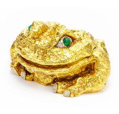Objet d'Art ~  An 18k Gold, Carved Emerald and Circular-cut Diamond Frog, by David Webb, circa 1966