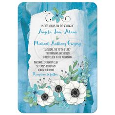 Blue and green anemone flower and wildflower watercolor floral wedding invitation front