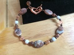 Earth and sky  - Copper, crystal, glass and agate bracelet 8 inch. 25.00$