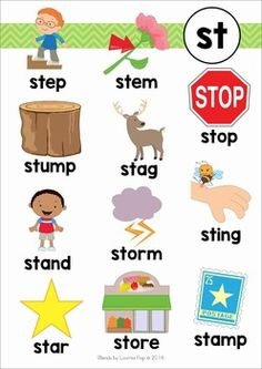 Blends Worksheets and Activities - ST by Lavinia Pop Phonics Chart, Phonics Flashcards, Phonics Blends, Phonics Words, Phonics Reading, Teaching Phonics, Kindergarten Reading, Teaching Reading, Teaching Kids