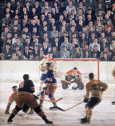 1957 photo of the Rangers-Canadiens playing at Madison Square Garden.