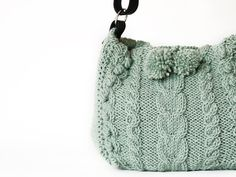 Mint green hand knitted messenger bag with adjustable by Sudrishta, $105.00