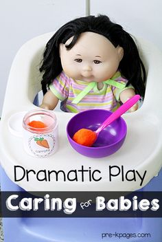 Dramatic Play Baby Nursery for Preschool and Kindergarten. Your kids will love these printable props to make learning fun and meaningful at home or in the classroom! Signs, labels, forms and more to spice up your dramatic play center! -Pre-K Pages Dramatic Play Themes, Dramatic Play Area, Dramatic Play Centers, Baby Doll Nursery, Baby Dolls, Reborn Nursery, Pre K Pages, Family Theme, Play Based Learning