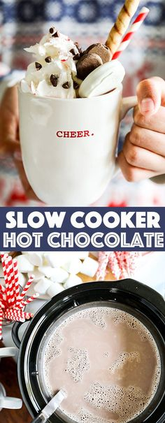 Crockpot Hot Chocolate - Rich and creamy homemade hot chocolate made easily in a slow cooker. Crockpot Hot Chocolate - Rich and creamy homemade hot chocolate made easily in a slow cooker. Cocoa Recipes, Chocolate Recipes, Baking Recipes, Dessert Recipes, Drink Recipes, Top Recipes, Sweet Recipes, Dinner Recipes, Desserts