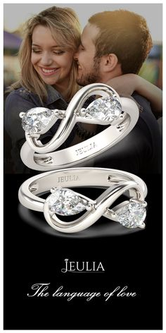 Infinity Two Stone Pear Cut Created White Sapphire Engagement Ring #Jeulia