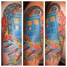 """MY Doctor Who 1/2 sleeve. I am in love with the writing and over all theme of the show, which I thought would be best expressed by Listener's lyrics """"we only have what we remember."""""""