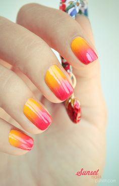 Gradient sunset nails