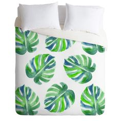 Going Green Duvet Cover in a coastal watercolor design. Add a pop of color to your tropical bedroom decor. Available in Twin/Queen/King