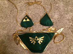 My swimming #Triforce outfit, by Brittney Brombacher | #Zelda #geek #fashion