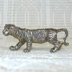 Pewter Tiger Crouching Figurine