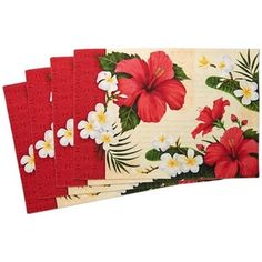 Set of 4 Hibiscus design placemats. The placemats are made of 100% fine cotton and have a solid cotton backing. Each measures 20″ x 14″. Machine washable. Tumble dry on low. Hibiscus Blossom Placemats, Red and White, Flower, Floral Decorative, Home Decor, 20″ X 14″, 4 Pack Hibiscus table runner that adds a special tropical flare …