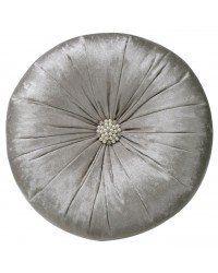 Cream Crushed Velvet Round Cushion with Centre Beading