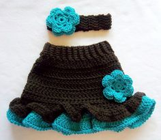 Baby Girl Crochet Flower Skirt Brown Turquoise Headband by Sock Monkey 77,