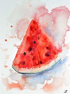 Watermelon Slice 3 (2016) Watercolor by Zaira Dzhaubaeva | Artfinder