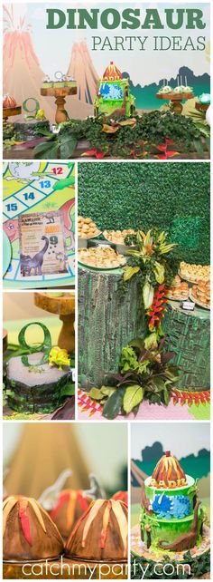 How fun is this roaring dinosaur boy birthday party! See more party ideas at Catchmyparty.com!