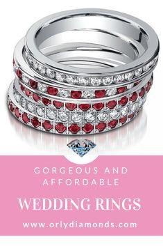 Diamond Wedding Band, ruby and diamond wedding  band at Orly Diamonds