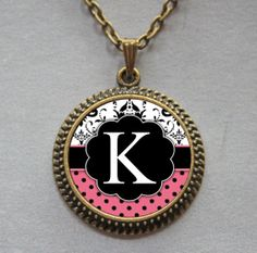 K - monogram art pendant...
