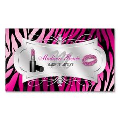 Bling business cards for make up artists business cards zebra print fuchsia black glitter cosmetology business card template this is a fully customizable business colourmoves