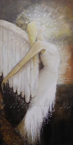 """""""In everyone's life, at some time, our inner fire goes out.  It is then burst into flame by an encounter with another human being.  We should all be thankful for those people who rekindle your inner spirit."""" - Albert Schweitzer  Title/artist:  """"Emerging"""" Oil on canvas by Joyce van der Lely."""