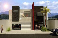 Fachada de casa contemporánea con texturas