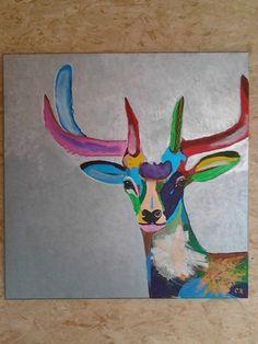 Schilderij van een hert in vele kleuren en verschillende technieken met acrylverf.
