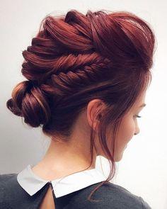 Feminine Braided Updo Wedding Hairstyles,braided updo hairstyle ,unique wedding hairstyles,hairstyle ideas #weddinghair #hairstyles #updos