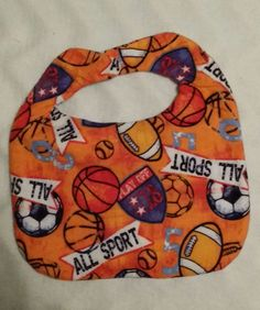 Hand Crafted Orange Flannel All Sports Baby Bib NEW Free Ship