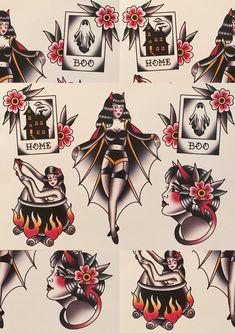 Halloween Tattoo Flash, Halloween Date, Halloween Film, First Halloween, Halloween Party Decor, Halloween Crafts, Halloween Costumes, Cute Halloween Tattoos, Desenhos Old School