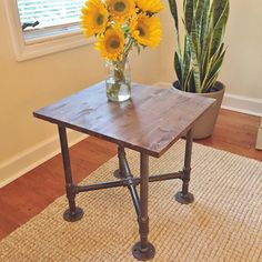 Made to order industrial style table made from hand-selected premium pine wood and sturdy steel pipe legs. Proudly designed and handmade in