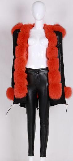 Soft Pink Fur Collar Hood Parka Army Green Jacket | Fur collars ...