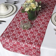Burgundy Lace Table Runner