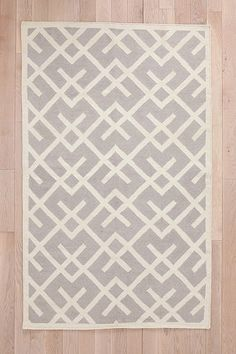 Urban Outfitters	Cross-hatch Dhurrie Rug - Grey - 3x5
