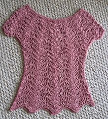Feather and Fan Top - Free crochet pattern by Rebecca Averill. Sizes: Small-Medium, customizable to larger/smaller/intermediate sizes.