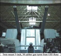 Twin mount 5-inch, 38-caliber gun turret from USS Reno displayed at US Navy Museum Atlantic exhibition.