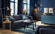 IKEA Inspiration Room: Small dark blue living room with black-blue sofa and black round coffee table. Room Paint Colors, Paint Colors For Living Room, Living Room Furniture Inspiration, Ikea Inspiration, Ikea Vimle, Dark Blue Living Room, Beautiful Living Rooms, Interior Design Living Room, Home Decor
