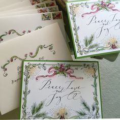 Custom Watercolor Holiday Cards by Paper Melange