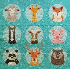 Animal Portraits Baby Quilt - Custom Quilts by Stitched