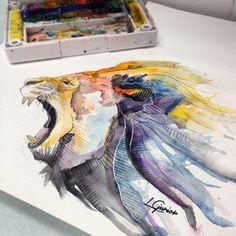 Uma parada mais agressiva #lion #leao #roar #watercolor #aquarela #tattoo #tatuagem #lcjunior  (em Espaço Alvorada)