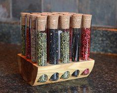 Aromatic Cedar Test Tube Spice Rack by TheTubularSpiceCo on Etsy, $67.99 Test Tube Spice Rack, Ideias Diy, Kitchen Redo, Houzz, Pretty Cool, Blacksmithing, Organization, Organizing, Glass Bottles