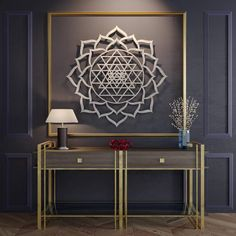 Sri Yantra Lotus Mandala Metal Wall Art Precision cut from high grade stainless steel, this collection of crisp, modern art pieces by Arte Metal is inspired by nature, spirituality, and the beauty o Sri Yantra, Yantra Yoga, Lotus Mandala, Large Metal Wall Art, Metal Wall Decor, Wood Wall, Metal Sculpture Wall Art, Wall Sculptures, Pooja Room Design