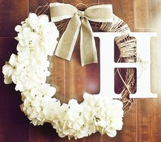 Monogrammed+White+Hydrangea+Grapevine+Wreath+with+a+by+ChicWreath,+$54.00