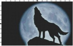 cross stitch wolves | Lone Wolf with Moon Original Cross Stitch Pattern - Ad#: 1076082 ...