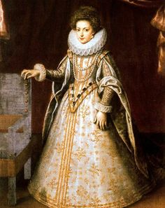 Henriette Marie of Francis, future wife of Charles I of England.  Amazing to see people who lived to wear the costumes of the Van Dyck era in the clothes of the    late Tudor/early Stuart era.