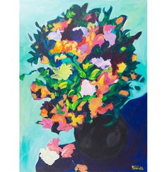 """This Francois Eril Acrylic Painting on Canvas """"Bouquet Turquoise"""" will add vibrance to any room.  Find it on EBTH.com"""