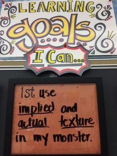 First grade texture monsters First Grade Art, First Grade Lessons, Elementary Art Rooms, Art Lessons Elementary, Art Classroom Management, Classroom Organization, Classroom Decor, Art Room Rules, Jamestown Elementary